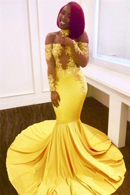 Off The Shoulder Yellow Prom Dress | Mermaid Sexy Evening Dress with Lace Chocker FB0295_2