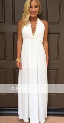 Halter Summer White V-Neck Evening Gowns Backless Maxi Dresses_4
