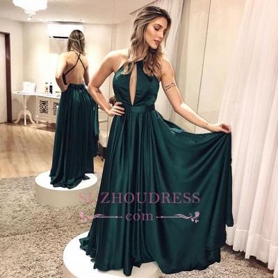 Elegant Simple Backless Dark-green Cross-criss Formal Dress_3