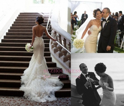 Elegant Backless Tulle Spaghetti-Strap Mermaid Sweep-Train Wedding Dresses_1