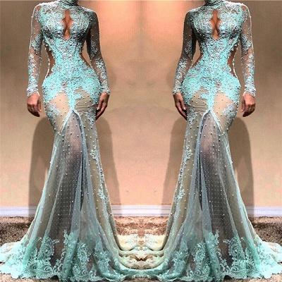 Glamorous Mermaid Long Sleeves Evening Dresses |  High Neck Sheer Appliques Prom Dresses_3