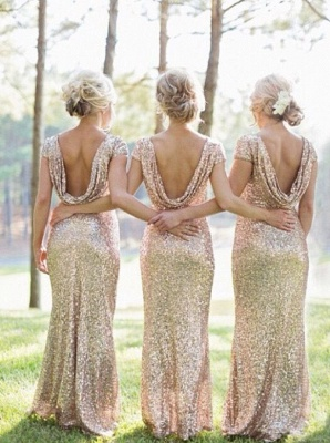 Unique Back Style Sequined Bridesmaid Dress  Backless Sexy Evening Prom Dress_4