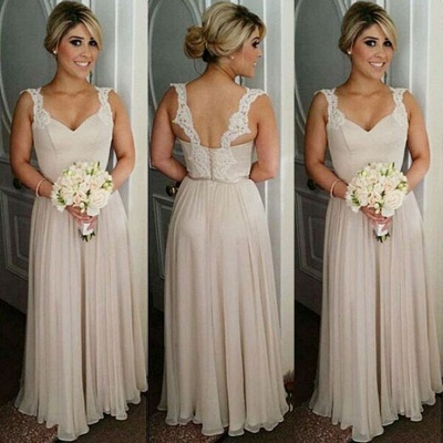 A-line Straps Floor-length Buttons Lace Bridesmaid Dresses_3