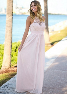 Open Back Pink Lace Chiffon Bridesmaid Dress | Sleeveless Sexy Dresses for Maid Of Honor_3