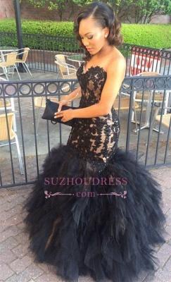 Sweetheart Lace Appliques Mermaid Black Sleeveless Tulle Ruffles Puffy Ptom Dress  BA5179_1
