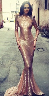 Mermaid Open Back High Neck  Formal Evening Gown Long Sleeves Sequins Sexy Prom Dresses BA5545_2