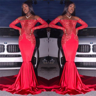 Off The Shoulder Red Sexy Prom Dresses | Long Sleeve Mermaid Lace Evening Dress with Long Train FB0327_3