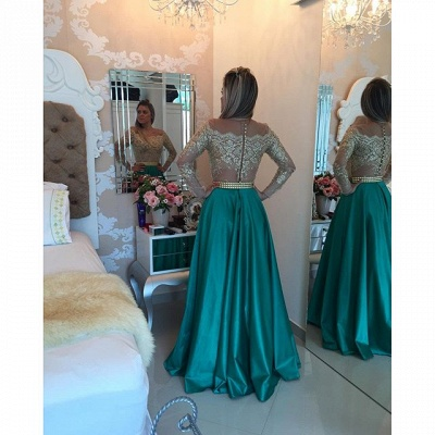 Latest Long Sleeve A-Line Prom Dress with Beading Lace Applique  Evening Gown_5