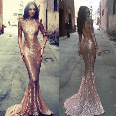 Mermaid Open Back High Neck  Formal Evening Gown Long Sleeves Sequins Sexy Prom Dresses BA5545_4