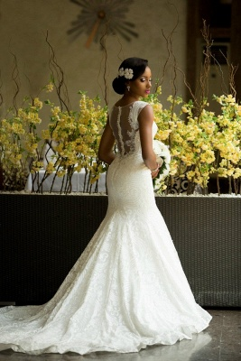 Sexy Mermaid  Vintage Wedding Dress with Special Lace Beading Sheer Back Wedding Gowns BA3413_4