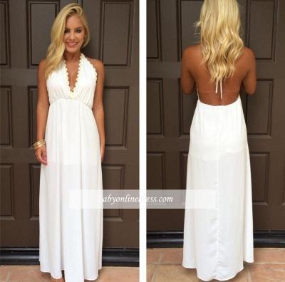 Halter Summer White V-Neck Evening Gowns Backless Maxi Dresses_1