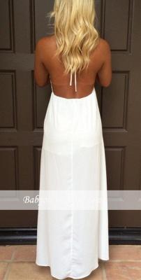 Halter Summer White V-Neck Evening Gowns Backless Maxi Dresses_3