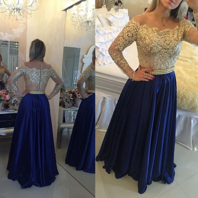 Latest Long Sleeve A-Line Prom Dress with Beading Lace Applique  Evening Gown_1