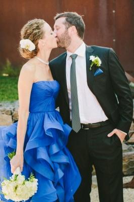 Sweetheart Royal Blue  Wedding Dress Organza Puffy Hot Sale Brideal Dress for Beach Wedding_4