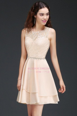 Lace Beading Sleeveless Tiers A-line Elegant Homecoming Dresses_3