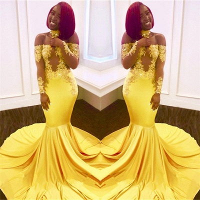 Off The Shoulder Yellow Prom Dress | Mermaid Sexy Evening Dress with Lace Chocker FB0295_3