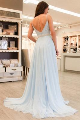 Light Blue A-line Straps Evening Dresses | Beaded V-Neck Open Back Prom Dresses_3