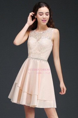 Lace Beading Sleeveless Tiers A-line Elegant Homecoming Dresses_1