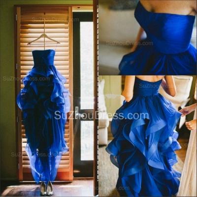 Sweetheart Royal Blue  Wedding Dress Organza Puffy Hot Sale Brideal Dress for Beach Wedding_2