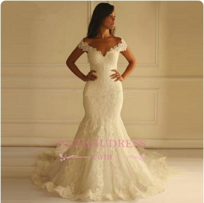 Elegant Off-The-Shoulder Mermaid Lace-Applique Wedding Dresses_1