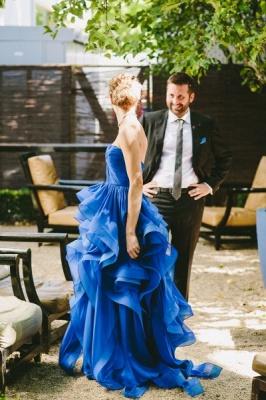 Sweetheart Royal Blue  Wedding Dress Organza Puffy Hot Sale Brideal Dress for Beach Wedding_5