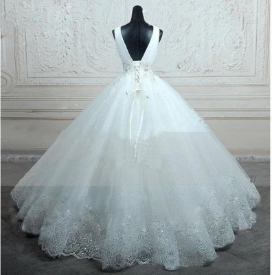 Straps Sleevelss Lace Beading Wedding Dresses  Ball Gown Lace-up Open Back Bridal Dress_4