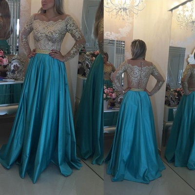 Latest Long Sleeve A-Line Prom Dress with Beading Lace Applique  Evening Gown_4