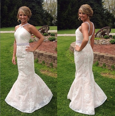 White Sexy Mermaid Lace Long Wedding Dress Halter Ruffles Beading Floor Length Bridal Gown_2