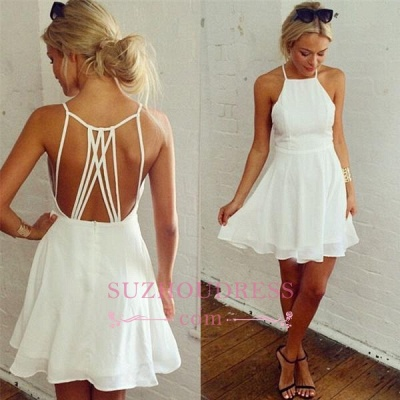 White Mini Ball Dress   Backless Modest Sleeveless Homecoming Dress_3