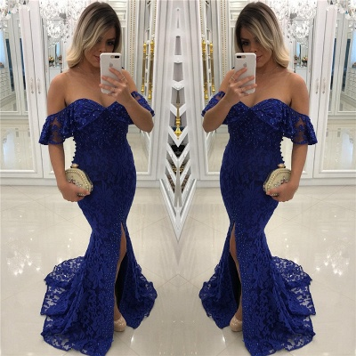 Royal Blue Lace Mermaid Prom Dresses Beads Sequins Off The Shoulder Front Split Evening Gown_3