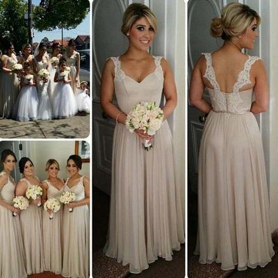 A-line Straps Floor-length Buttons Lace Bridesmaid Dresses_4