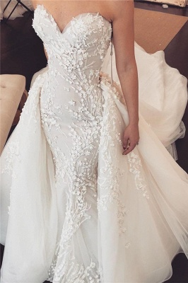 Chic Tulle Chapel Train Wholesale Wedding Dresses Sweetheart Lace Appliques Overskirt Bridal Gowns Online_1
