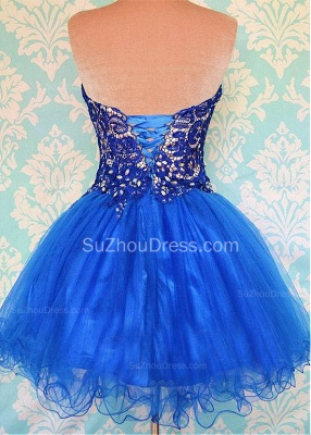 Cute Sweetheart Royal Blue Short Homecoming Dress Crystal Organza Lace Mini Cocktail Dresses_2