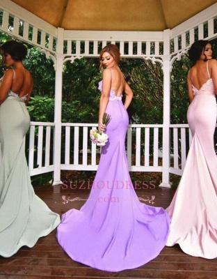 3D Floral Appliques Spaghettis Straps Formal Dress Long Elegant Mermaid Bridesmaid Dresses_1