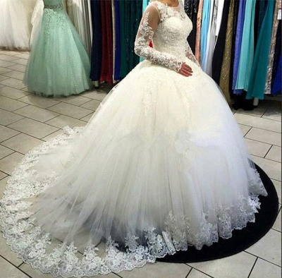 Long Sleeve Lace Ball Gown Wedding Dress Tulle Sweep Train  Bridal Gowns_4