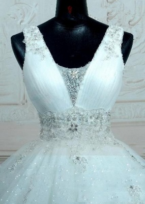 Straps Sleevelss Lace Beading Wedding Dresses  Ball Gown Lace-up Open Back Bridal Dress_3