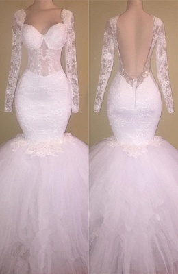 Long Sleeve Lace Backless Prom Dress  Mermaid Puffy Tulle Gorgeous Wedding Dresses BA8424_1