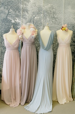 Lovely Light Colors Chiffon Bridesmaid Dresses Different Styles  Wedding Party Dress_2