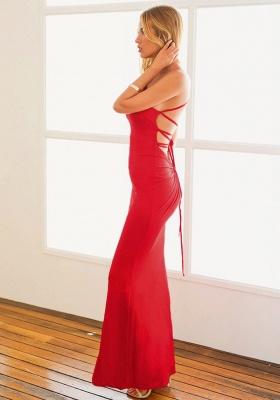 One Shoulder Mermaid Summer Beach Dresses Sleeveless Backless Long Formal Dress_4