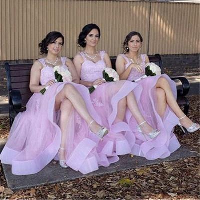 Appliques Elegant A-Line Lace Tulle Straps Bridesmaid Dresses_3