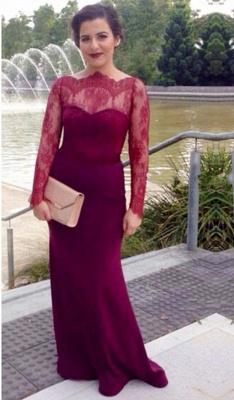 Burgundy Long Sleeve  Mother Dress Lace Sexy Sweep Train Elegant Formal Evening Dress_1