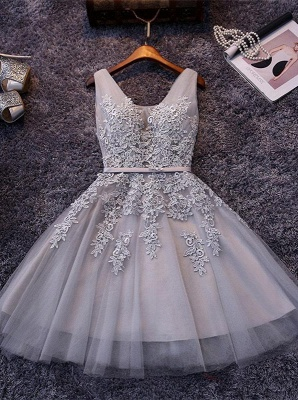 Sliver Grey  V-neck Mini Homecoming Dresses  Lace Appliques Tulle Party Dress_4