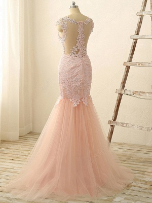 Gorgeous Pink Sexy Mermaid Prom Dresses Tulle Lace Applique Long Party Gowns_3