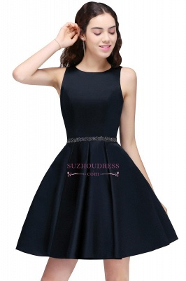 Sequare A-Line Black Beadings Short Sleeveless Homecoming Dresses_6
