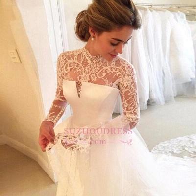 Zipper Lace Elegant High-Neck A-line Long-Sleeve Wedding Dress_1