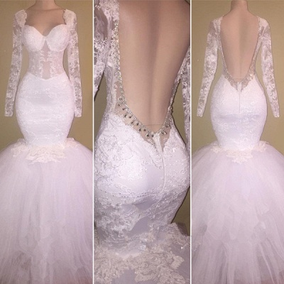 Long Sleeve Lace Backless Prom Dress  Mermaid Puffy Tulle Gorgeous Wedding Dresses BA8424_3