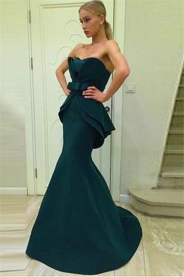 Dark Green Mermaid Strapless Evening Dresses | Ruffles Open Back Prom Dresses_1