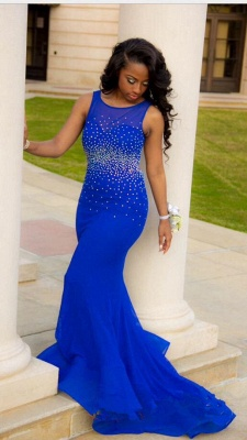 Royal Blue Crystal Mermaid Evening Dress Beading Sweep Train Backless Custom Made Party Dresses_1