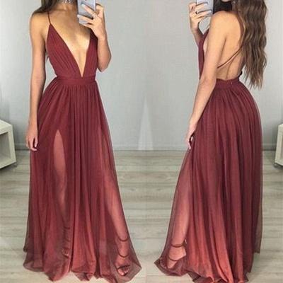 Sexy Long Backless Formal Ball Dresses Straps Split V-neck Deep Evening Gowns BA3629_3