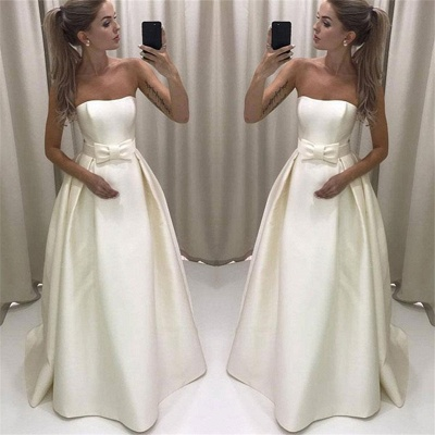 Strapless A-line Elegant Wedding Dresses  New Arrival Sleeveless Bridal Gowns with Bowknot_3